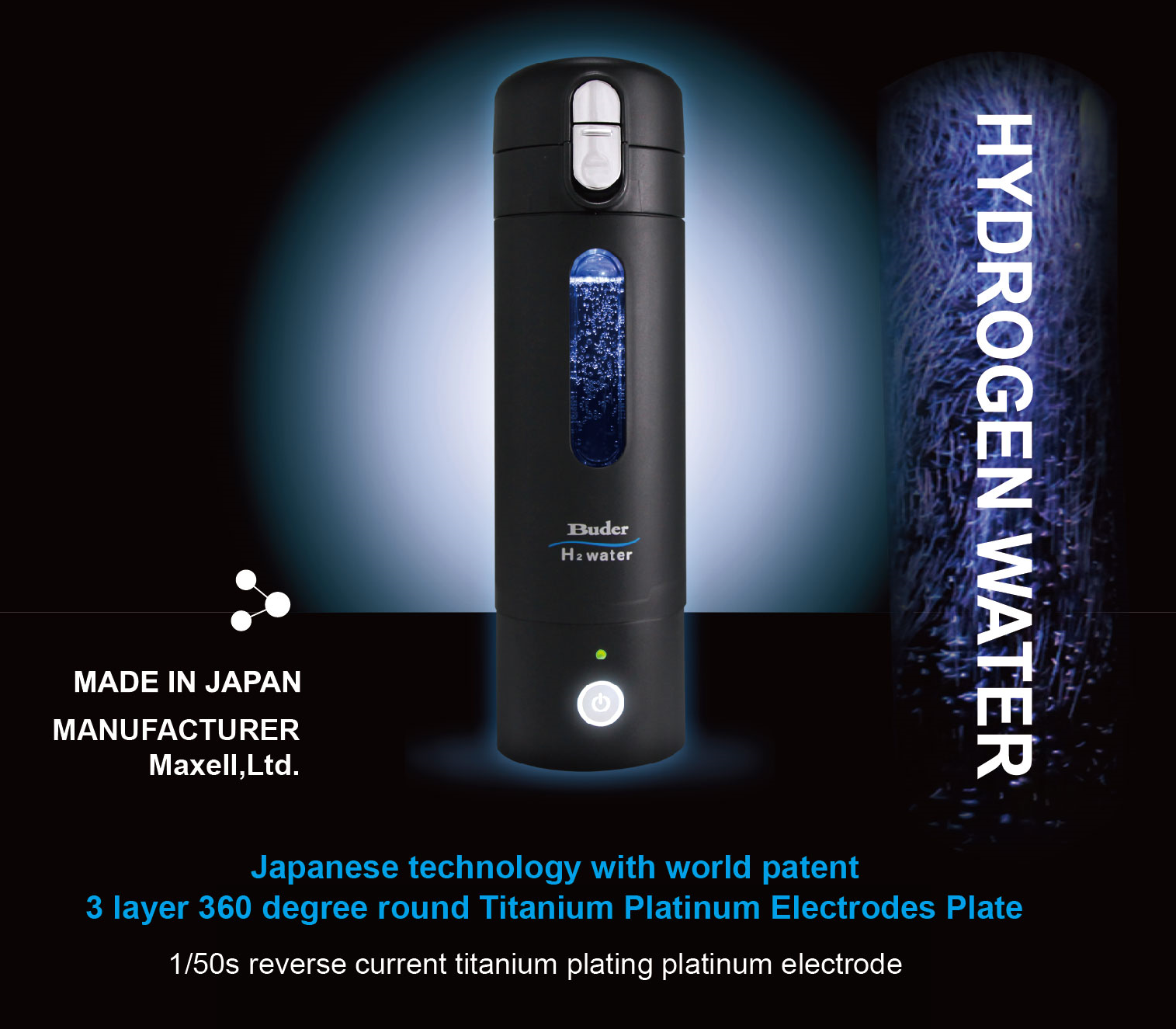 Portable Botol Air Hydrogen Titanium Maxell made in Jepang